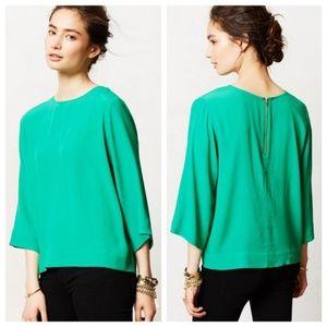 Anthropologie 3/4 length sleeve green blouse